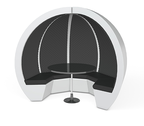Circular carbon table, image shows 5 person escape pod with table