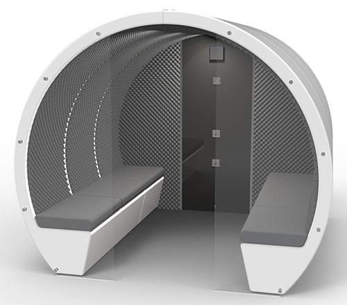 Image shows partial glass enclosure on 6 person pod also fitted with back panel with acoustic foam sides