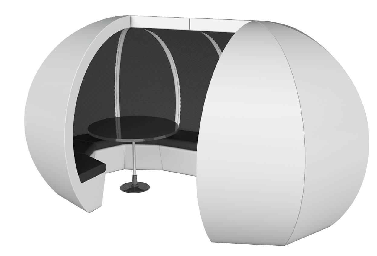 White 10 Person Modular Pod with table