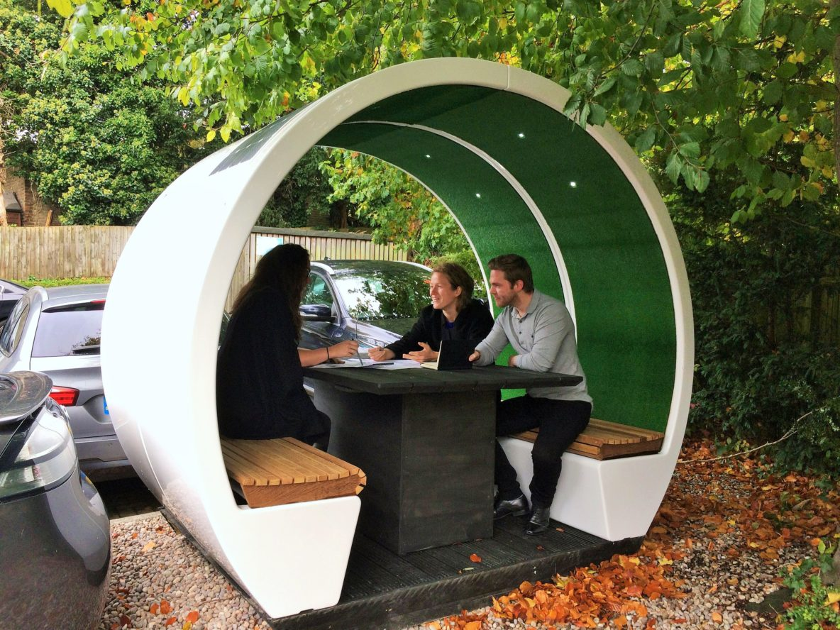 Outdoor Meeting Pod with table, LED lighting and wooden bench seats