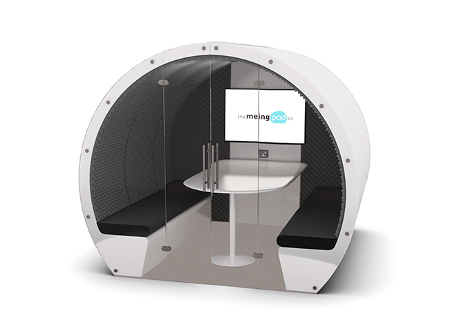 6 person Meeting Pod with back panel and full glass