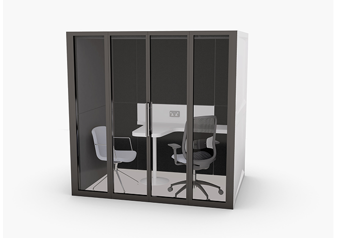 Pod Squared private office with black enclosure