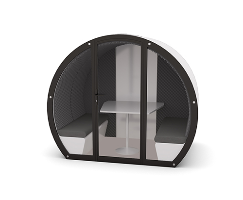Image shows full glass enclosure on a 4 person meeting pod with acoustic back panel
